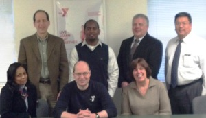 Top Row: Jonathan Phillips, Groundwork Elizabeth; Charles Brown, Alan Voorhees Transportation Center, Rutgers; James R. Yaeger and Steven Wong, Michael Baker, Jr, Inc., DOT  Bottom row: Michelle S. Ali, Trinitas RMC;  Michael Johnson and Alane McCahey, YMCA of Eastern Union County  Team Members not present:   Melissa O'Neill Walczak, YMCA of Eastern Union County; Abby Nagel, Trinitas RMC;  Stu Bressler