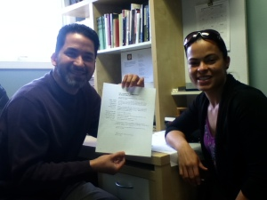 Pastor Diego Cuartas with the Healthy Faith Based Champion Selinette Bordoy after signing the Church's Commitment To Good Health Agreement.