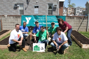 Team of volunteers lead by Jonathan Phillips, Groundwork Elizabeth and Michael Johnson, YMCA of Eastern Union County.