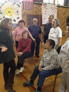 "Lorraine Gibbons from Garden State Urban Farms tells the seniors at the Garfield YMCA about her ""traveling farm."""