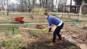 Sarah Meyer, Oakeside Garden Coordinator tilling the land...