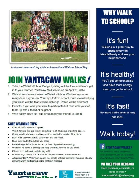 Yantacaw Walks Student Flyer