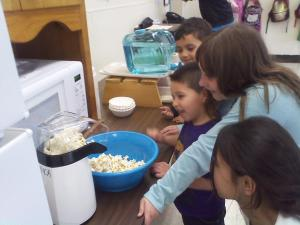 Franklin Borough Elementary After School Care Making Air Popped Unbuttered Popcorn