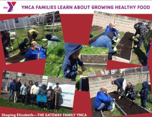 Woman and children from Madison House in Elizabeth enjoy learning and working in the garden.
