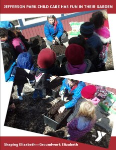 The children from Jefferson Park Pre-School are excited to learn from the volunteers from Groundwork Elizabeth.