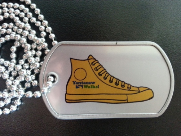 Each student who hands in a walk-to-school pledge form receives a Yantacaw Walks dog tag. Students love to show their walking pride (and fashion sense!).