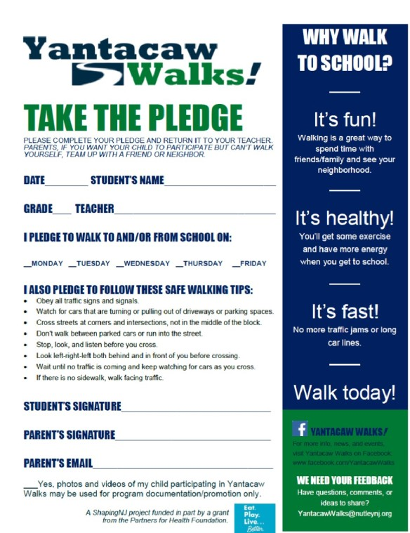 Yantacaw Walks Pledge Form Apr 2014