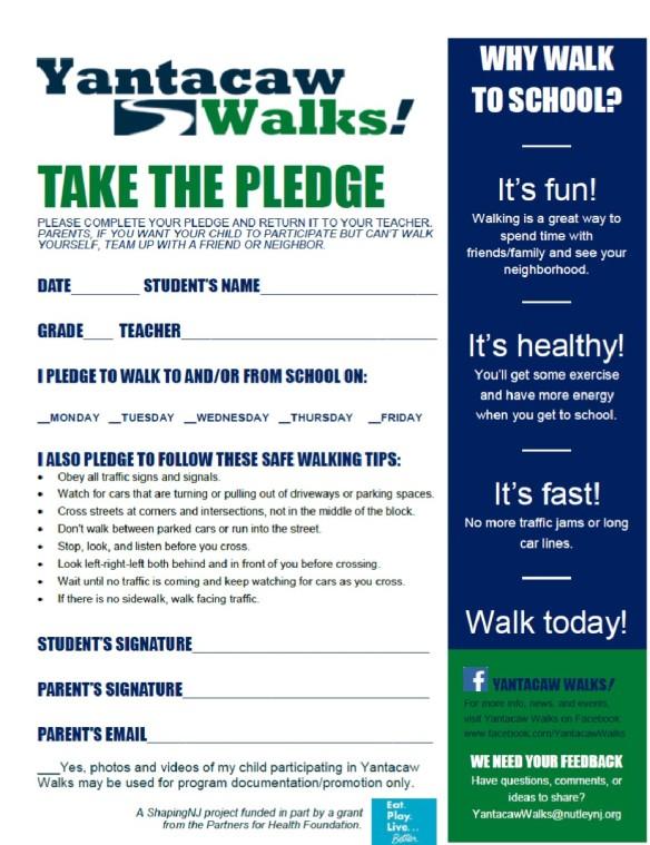 Yantacaw Walks Pledge Form Apr 2014