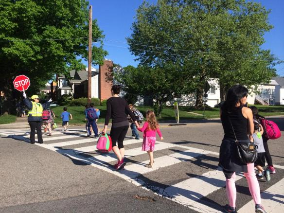 Crosswalk with new crossing guard at Washington & McKinley, a major route to school