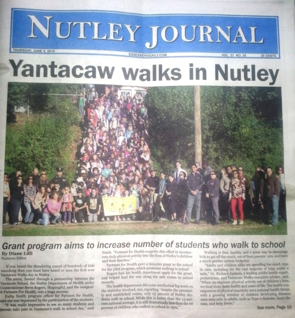 Nutley Journal cover featuring Yantacaw Walks on June 5th 2014
