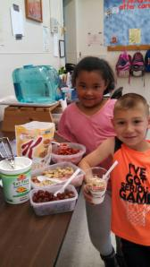 Sussex County YMCA's After School Care at the Franklin Borough Elementary After School Care creating yogurt parfaits