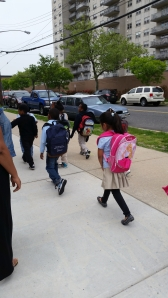 Thurgood Marshall School Kindergardners Walking after lunch