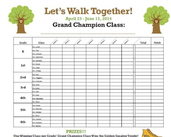 Yantacaw Walks Classroom Challenge Hall Chart