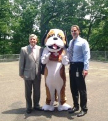 Commissioner Rogers, Bernie the Dog, & Superintendent Lazovick at Yantacaw Walks Closing Ceremony