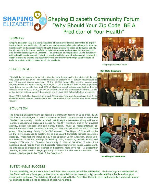 Shaping Elizabeth 2014 Grant Follow Up.
