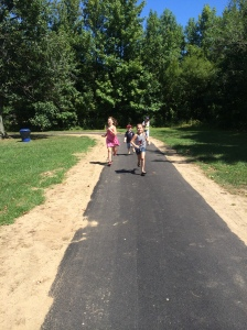 Kids from the community enjoying the NEW walking path.