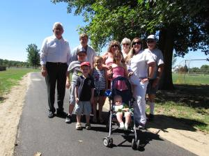 """On August 28, Salem County Freeholder Bob Vanderslice, Chair of Health & Human Services, and Freeholder Ben Laury were on hand to inspect the walking path at the Salem County Recreation Park in Oldmans Township. The Freeholders were joined by Health Department staff and community members.  The county received a Shaping NJ grant to offset the cost of constructing a walking path. Freeholder Vanderslice stated, """" this grant gives us an opportunity to expand the recreational offerings at the park."""""""