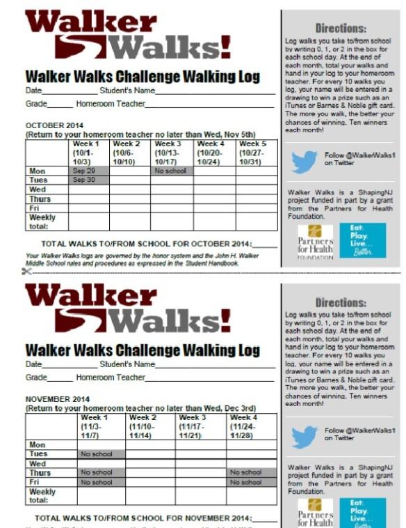 Walker Walks Log Form 2014