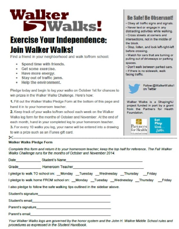 Walker Walks Pledge Form 2014