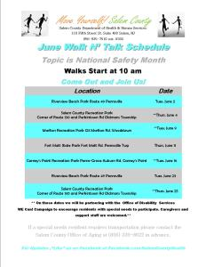 June 2015 Walk Schedule