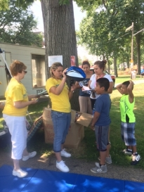 Safety first.  Over 50 kids received helmets from