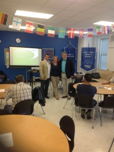 Fabio Montoya, Food Safety Trainer; Susan Downer, Health Inspector of the town of Dover; and Carlos Caprioli, Program Manager of the Morris County Family Success Center, at Berkeley College, where the trainings of the restaurant owners and cooks took place.