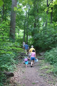 Families explore the trail on June 14, 2015 at the Party at the Dump